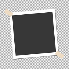 Photo frame with sticky tape on isolate background. Template, blank for your trendy photo