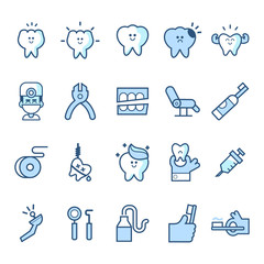 Dental care flat decorative icons set with stomatologist tools teeth care products and white smile symbols. Isolated vector illustration