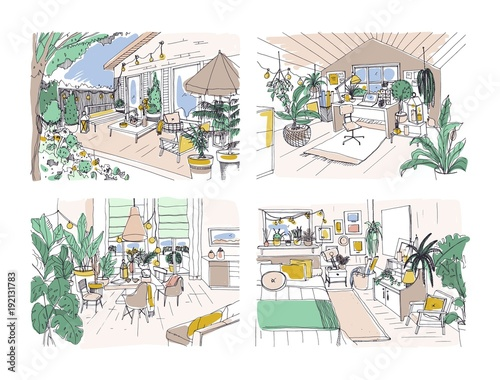 """Cutaway Apartment Full Furnitures Modern Design: """"Collection Of Colored Freehand Drawings Of Cozy Apartment"""