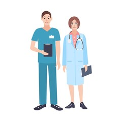 Pair of male and female doctors wearing scrubs and physician coat. Man and woman medical practitioners dressed in uniform. Smiling cartoon characters isolated on white background. Vector illustration.