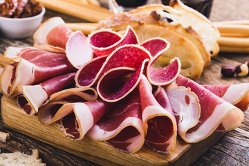 Antipasto platter with smoked meat