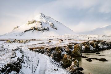 arnastapi fishing town on winter season, iceland