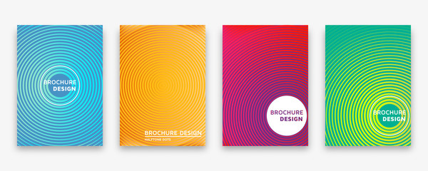 Brochure design with halftone lines and neon gradients. Vector illustration.