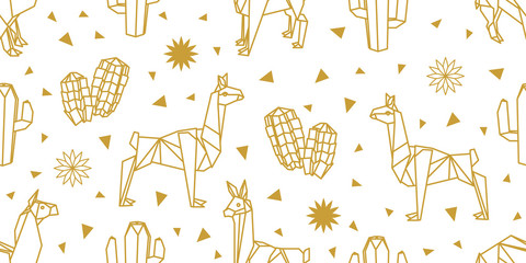 Origami animals. Seamless vector pattern with lamas.