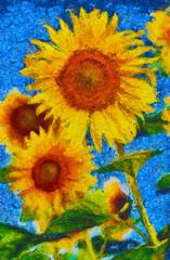 Sunflowers painting. Impressionist painting.Van Gogh style imitation.