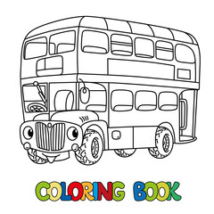 Funny small London bus with eyes. Coloring book