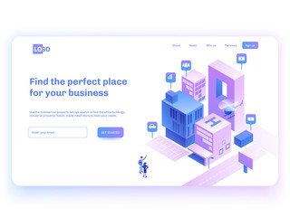 Find commercial real estate for your business. Choose criteria for office. Isometric vector illustation with buildings. Landing page concept