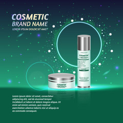 3D realistic cosmetic bottle ads template. Cosmetic brand advertising concept design with glitters and sparkles abstract sky background