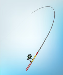 Vector illustration of Fishing rod, rod buckling and reel. Concept of wiating in the important moments to successful.