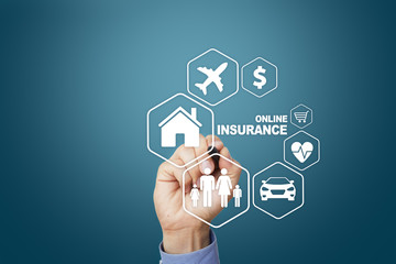 Online insurance on virtual screen. Life, car, property, health and family. Internet and digital technology concept.