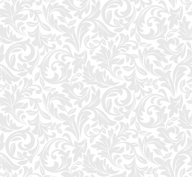 Floral pattern. Wallpaper baroque, damask. Seamless vector background. White and grey ornament.