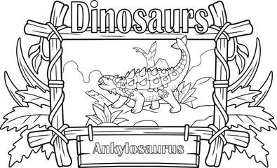 prehistoric dinosaur, ankylosaurus, coloring book