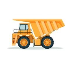 Yellow dump truck with big empty body and small cabin
