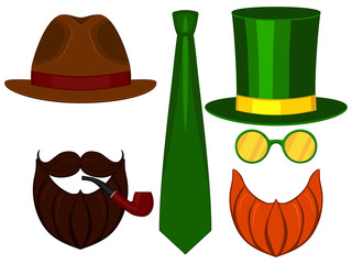 Icon line art poster man father dad day avatar elements set tall hat glasess mustache smoking pipe beard classic tie.