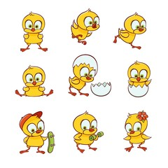 Set of cute new-born baby chicken characters running, flying, training, sitting in egg shell, hand-drawn, sketch style vector illustration isolated on white background. Cute baby chicken character set