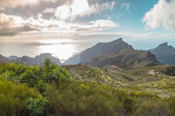 Mountain serpentine. The road is mountainous. The way from Anaga to Santa Cruz de Tenerife. Stunning top view. Anaga, Tenerife, Canary Islands, Spain.