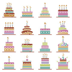 collection of various colorful birthday cakes
