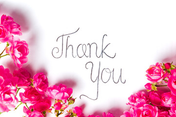 Thank you note with pink roses on white