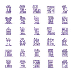 City urban house icon in linear style