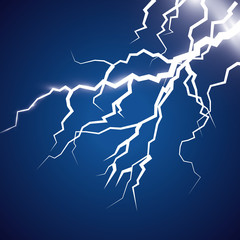 Vector ilustration. The effect of lightning and lighting. Thunder of lightning on a dark blue background. A symbol of natural strength or magic. Light and shine, Abstraction, electricity and explosion