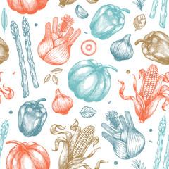Organic vegetables seamless pattern. Handsketched vintage vegetables. Line art illustration. Vector illustration