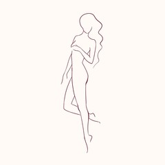 Silhouette of young beautiful long-haired nude woman with slim figure hand drawn with contour lines. Outline of female character isolated on light background. Monochrome vector illustration.