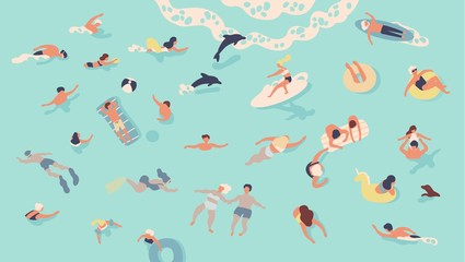 People in sea or ocean performing various activities. Men and women swimming, diving, surfing, lying on floating air mattress and sunbathing, playing with ball. Flat cartoon vector illustration.