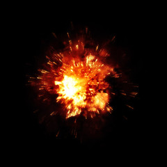 a detailed fire explosion on black background