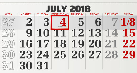 vector calendar of july 2018 with slidable red frame highlighting the Independence Day