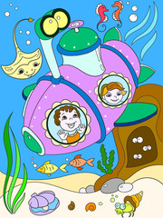 Children exploring the underwater world in a submarine color pages for children cartoon vector