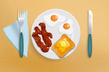 fried eggs, bacon and toast