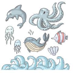 set of underwater creatures