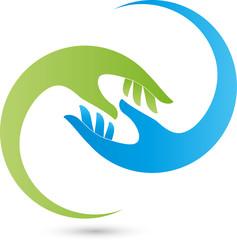 Hände, Physiotherapie, Heilpraktiker, Helfer, Logo