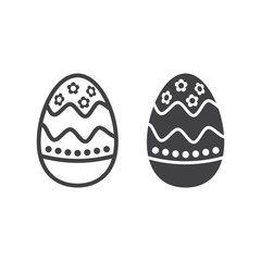 Easter egg line and glyph icon, easter and holiday, celebration sign vector graphics, a linear pattern on a white background, eps 10.