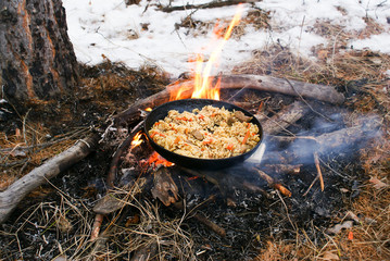 Pilau on the fire