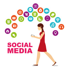 young woman walking using mobile and differents social media icons vector illustration