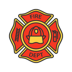 Fire department badge color icon
