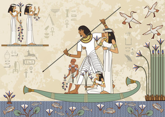 Stylized ancient culture background.Murals with ancient egypt scene Ancient egypt banner.Egyptian hieroglyph and symbol.Deities.