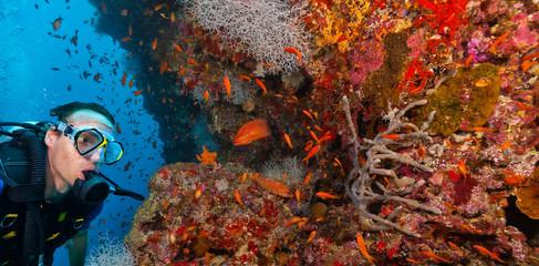 Young man scuba diver exploring coral reef