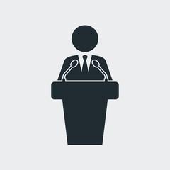 Icono plano orador con microfonos en fondo gris