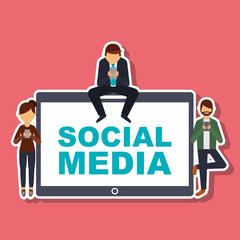 social media people with mobile phone technology vector illustration