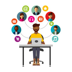 afroamerican man sitting with laptop group social media vector illustration