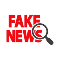 Icono plano FAKE NEWS con lupa en rojo y gris
