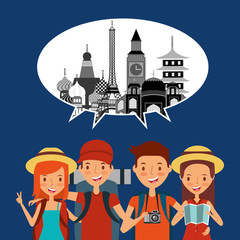 group of tourists in the vacations speech bubble and monuments