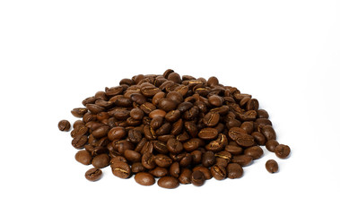 Whole coffee beans isolated on white background. Colombian coffee. Image with free space for text.