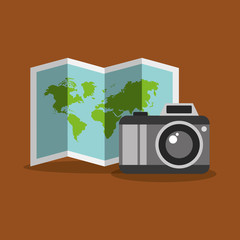 folded map and camera photo tourist equipment