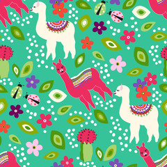 Cute llama seamless pattern with small leaf, flower,cactus, ladybug on a turquoise background. Vector pattern for kid
