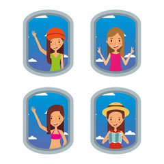tourist women looking airplane in window travel vacation set