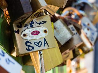 Beautiful love locks on the bridge in Jajce