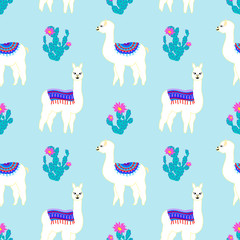 Seamless pattern with cute llama, castus and flower. Vector abstract background for kid. Hand drawn lama design with sweet cacti.